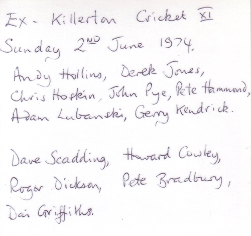 Ex Killerton XI   1974   team