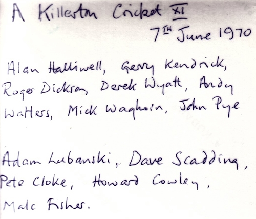 Killerton Cricket XI   1970   Team